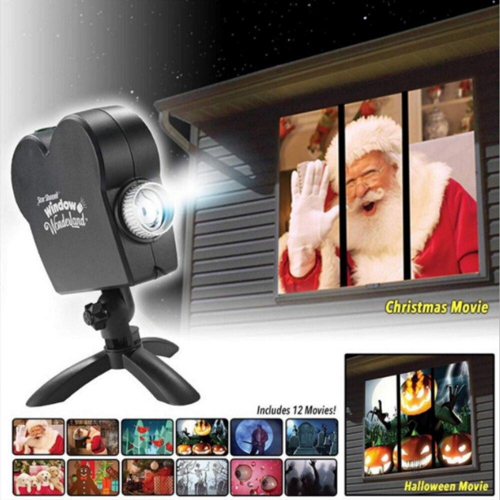 Işıklar ve Aydınlatma'ten Sahne Aydınlatması Efekti'de Pencere ekran lazer DJ sahne lambası 12 filmler yılbaşı spot projektör Wonderland projektör lambası cadılar bayramı partisi ışıkları title=