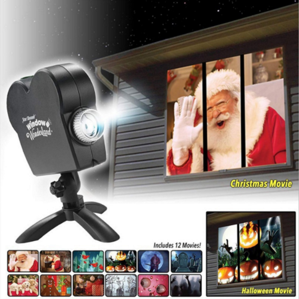 Window Display Laser DJ Stage Lamp 12 Movies Christmas Spotlights Projector Wonderland Projector Lamp Halloween Party Lights