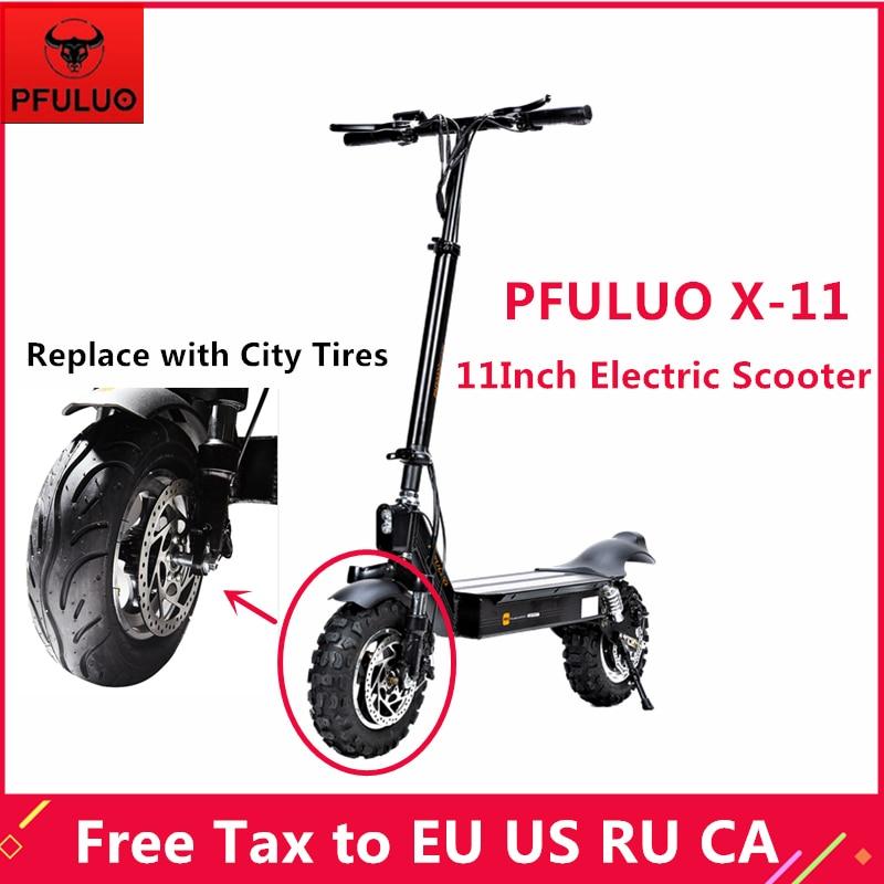 PFULUO X-11 Scooter électrique intelligent avec pneus de ville KickScooter 1000W 11 pouces hoverboard 50 km/h vitesse maximale planche à roulettes tout-terrain