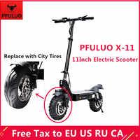 Scooter eléctrico inteligente PFULUO X-11 con neumáticos de ciudad KickScooter 1000W 11 pulgadas hoverboard 50 km/h Velocidad máxima Off-patineta para la carretera