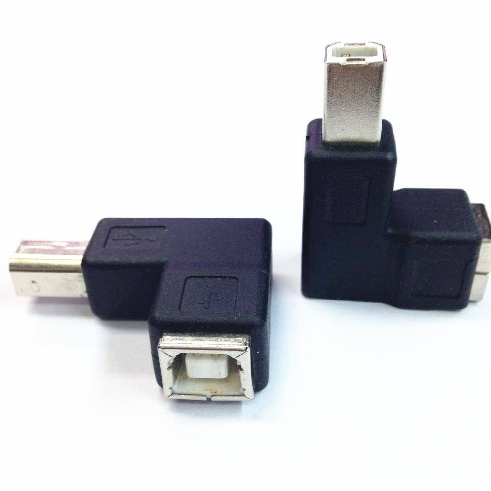 Newest Right Angled 90 Degree USB 2 0 B Type Male to Female Extension Adapter for