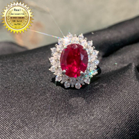 10K Gold ring Lab Created 2ct Ruby and Moissanite Diamond Ring With national certificate Ru 012