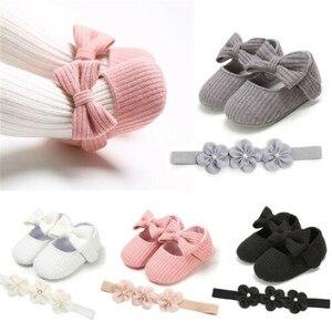 Zapatos de moda de cuna para bebé niña, zapatos de bebé con lazo suave, suela para bebés, zapatos de vestir + diadema, zapatos de primavera y otoño, regalo para bebés