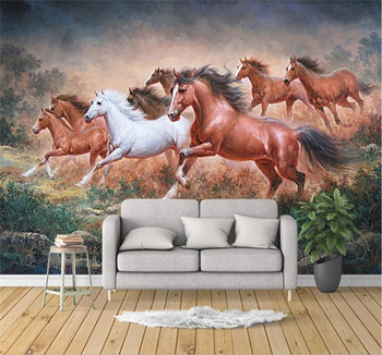 Custom wallpaper 3D/5D/8D stereo waterproof wall covering hand-painted grassland eight horses oil painting TV background
