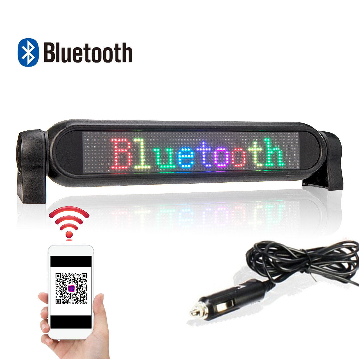 12v LED Car Sign Bluetooth Programmable LED Display Screen Bluetooth 12 * 72 Matrix Information Plate Screen Scrolling Text