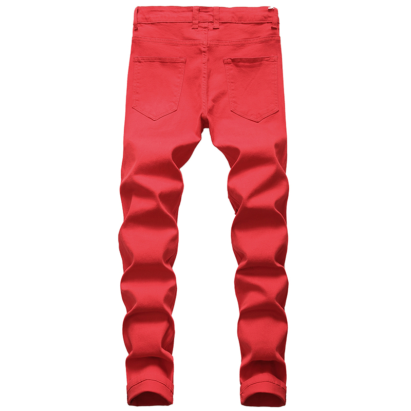 Gersri Straight Hole Destruction Trousers Distressed Jeans Men Denim Trousers Men Jeans Fashion Designer Brand White Jean Male