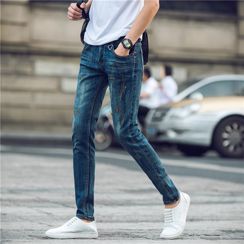 MEN'S Jeans 2016 Autumn New Style-Korean-style Slim Fit Men Skinny Pants Japanese-style Trousers Fashion