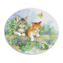 Предварительно напечатанный милый кот штампованные наборы вышивки крестом 11CT Embroideery DIY материалы для рукоделия Шитье
