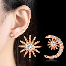 NEHZY 925 Sterling Silber Neue Frau Mode Schmuck Hohe Qualität Kristall Zirkon Gold Silber Sterne Mond Interstellare Stud Ohrringe