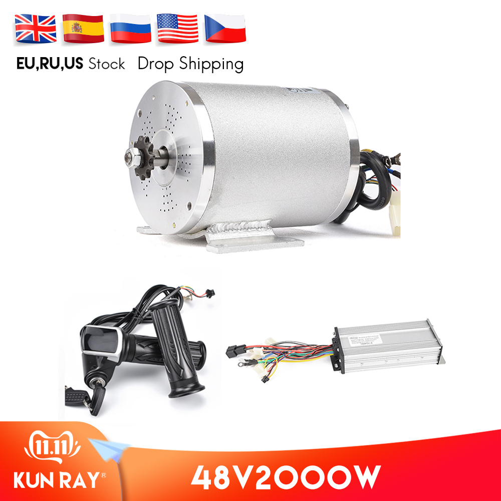 Electric <font><b>Brushless</b></font> <font><b>DC</b></font> <font><b>Motor</b></font> Complete Kit, 48V <font><b>2000W</b></font> 4300RPM High Speed <font><b>Motor</b></font>, With Controller,LCD Throttle, For Electric Scooter image