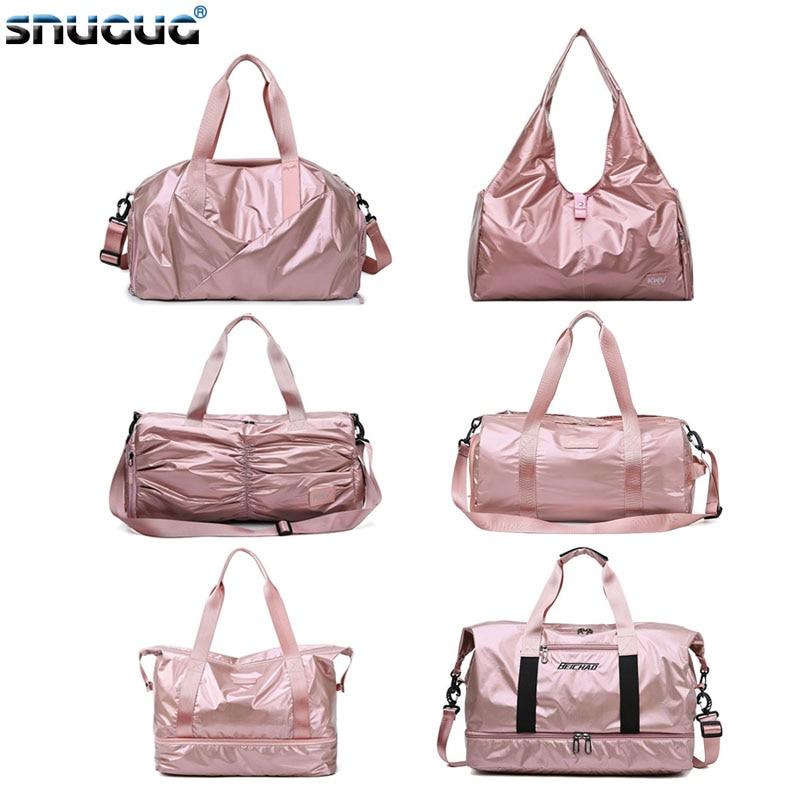 Bright Pink Womens Sports Bags For Fitness Wet Dry Gym Bag With Shoe Compartment Yoga Mat Bag Training Yoga Bolsa Sac De Sport