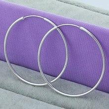 Trendy Women 100% 925 Silver Hoop Earring 50mm Round Circle Loop Gifts Simple Silver Hoop Earrings Jewelry Wholesale