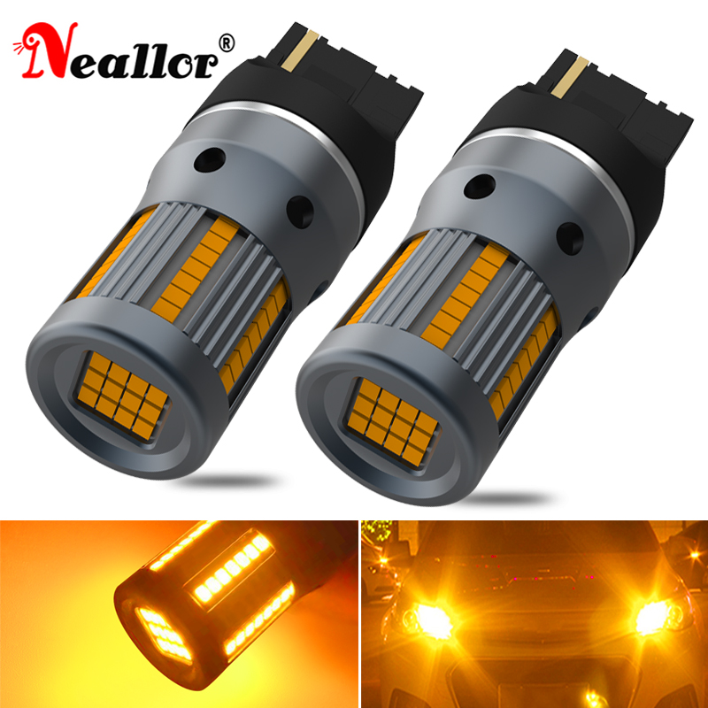 2X T20 7440 W21W BA15S Car Led Turn Signal Light Bulbs On Cars Accessories Auto Goods Diode Lamps For Ford s c Max Focus 2 3 Mk3