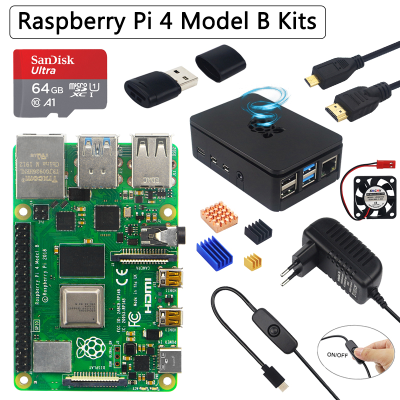 Original Raspberry Pi 4 Model B Kit   ABS Case   32 64GB SD Card  Power Adapter   Fan  Heat Sink   HDMI Cable for Raspberry Pi 4