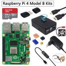 Oryginalny zestaw Raspberry Pi 4 Model B + etui z ABS + karta SD 32 64GB + zasilacz + wentylator + radiator + kabel wideo do Raspberry Pi 4