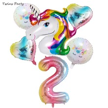 Twins Party 6pcs Rainbow Gradient Unicorn Balloons Happy Birthday Baby Shower  Kids Wedding Ballons