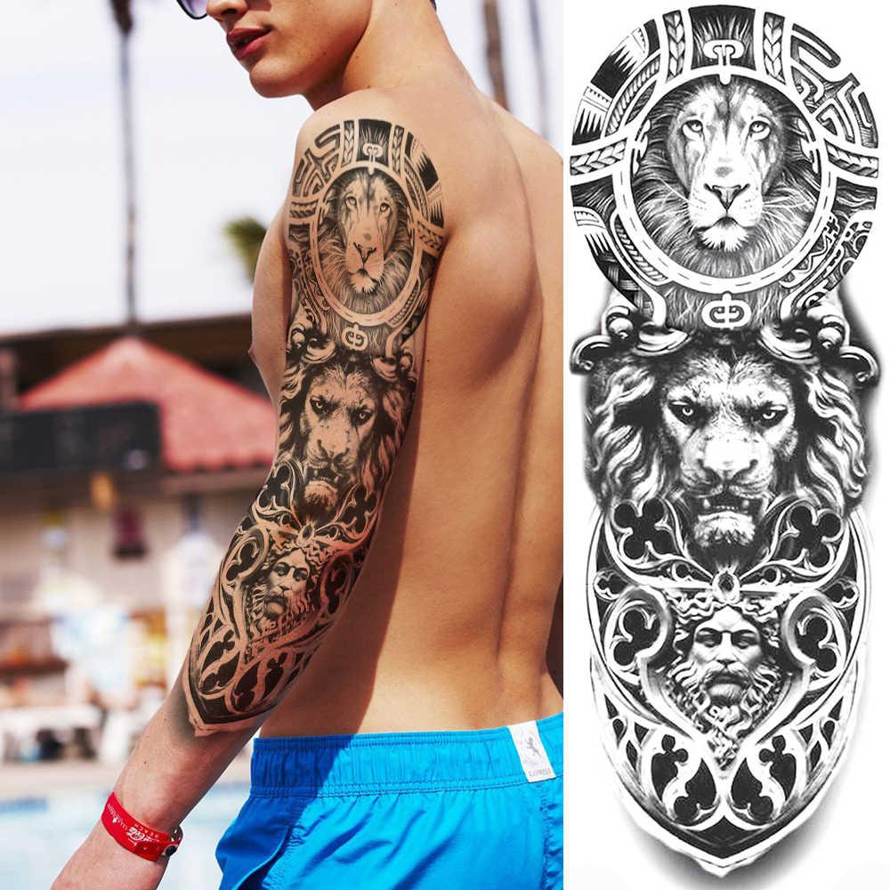 Volledige Arm Tijdelijke Tattoos Sticker Voor Vrouwen Mannen Nep 3D Evil Ogen Gangster Gun Rose Tattoos Decal Realistische Mouw Grote tatoos