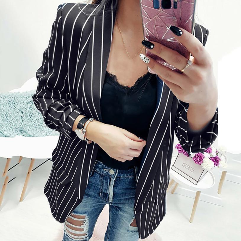 Women Ladies Frill Ruffle Long Sleeve Striped Outwear Duster Blazer Jacket Coat