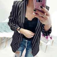 Coats Blazers Fashion Ladies Long Sleeve Striped Stylish Jacket Duster Blazer Coats And Jackets Women 2018jul27