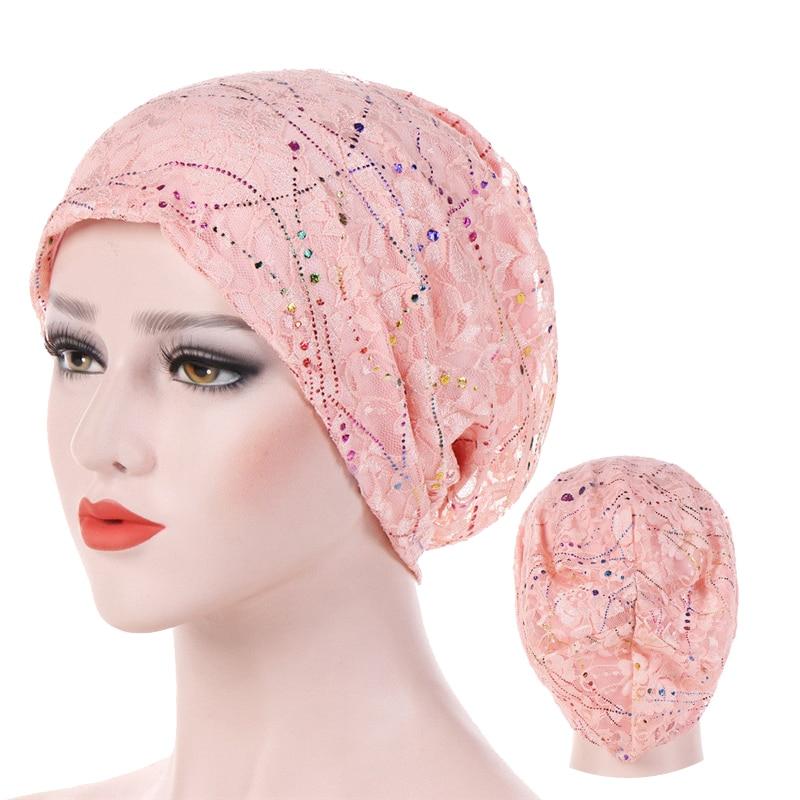 Тонкий кружевной летний мусульманский тюрбан, шапки, однотонные хлопковые шапочки под хиджаб, элегантные женские тюрбанты, головной убор в ...