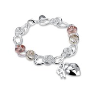 T976 Fashion Simple Lock Design Jewelry Bracelets For Women Delicate Silver Plated personality Bracelet Gift