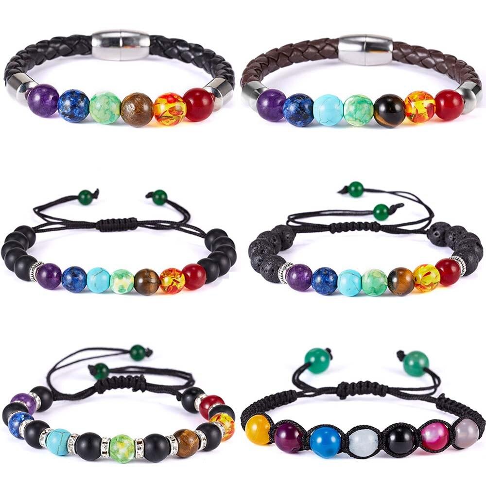 8mm Classic 7 Chakra Bracelet Lava Healing Balance Beads Reiki Buddha Prayer Natural Stone Yoga Bracelet For Women Men
