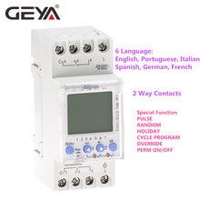 Geya THC-822 conversational programável temporizador 2 contatos de comutação do canal interruptor do temporizador digital com bateria 16a 220v 110v