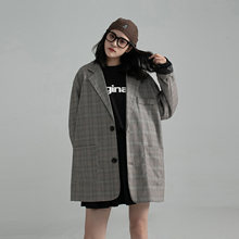 Женский клетчатый Блейзер осенняя одежда корейский модный дизайн