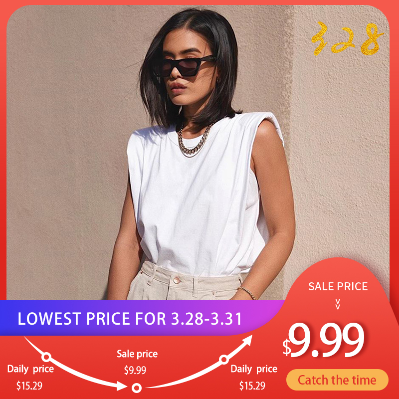 Cotton Shoulder Padded Korean Women T-Shirt O-Neck Sleeveless Solid Female T Shirt 2020 New Summer Casual Loose Ladies Top Tees