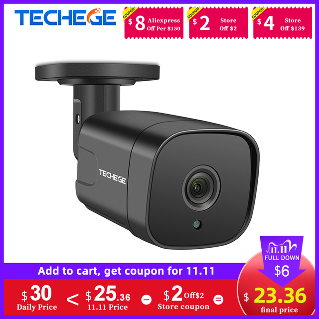 Techege 12V אודיו אבטחת IP המצלמה POE סופר HD 5MP ONVIF חיצוני עמיד למים טלוויזיה במעגל סגור מצלמה מעקב וידאו בית עבור POE NVR
