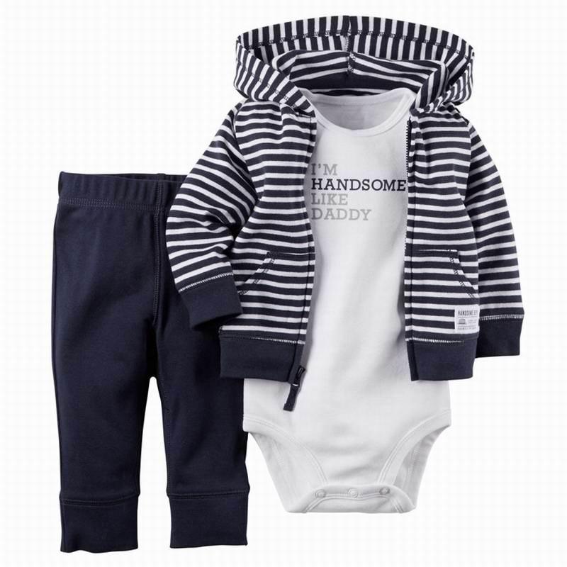 2020 комплекты для маленьких мальчиков и девочек комбинезон с длинными рукавами + пальто с капюшоном + штаны костюм из 3 предметов детская одежда E22358 4