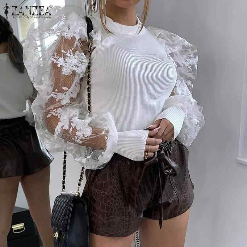 2020 Spring Knitted Shirts ZANZEA Women Skinny Blouse Fashion Solid Blusas Long Puff Sleeve Lace Patchwork Female Tunic Tops