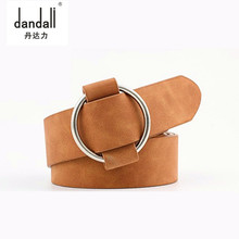 Women leather belt Newest Round buckle belts for women leisure jeans  without pin metal strap elegant female