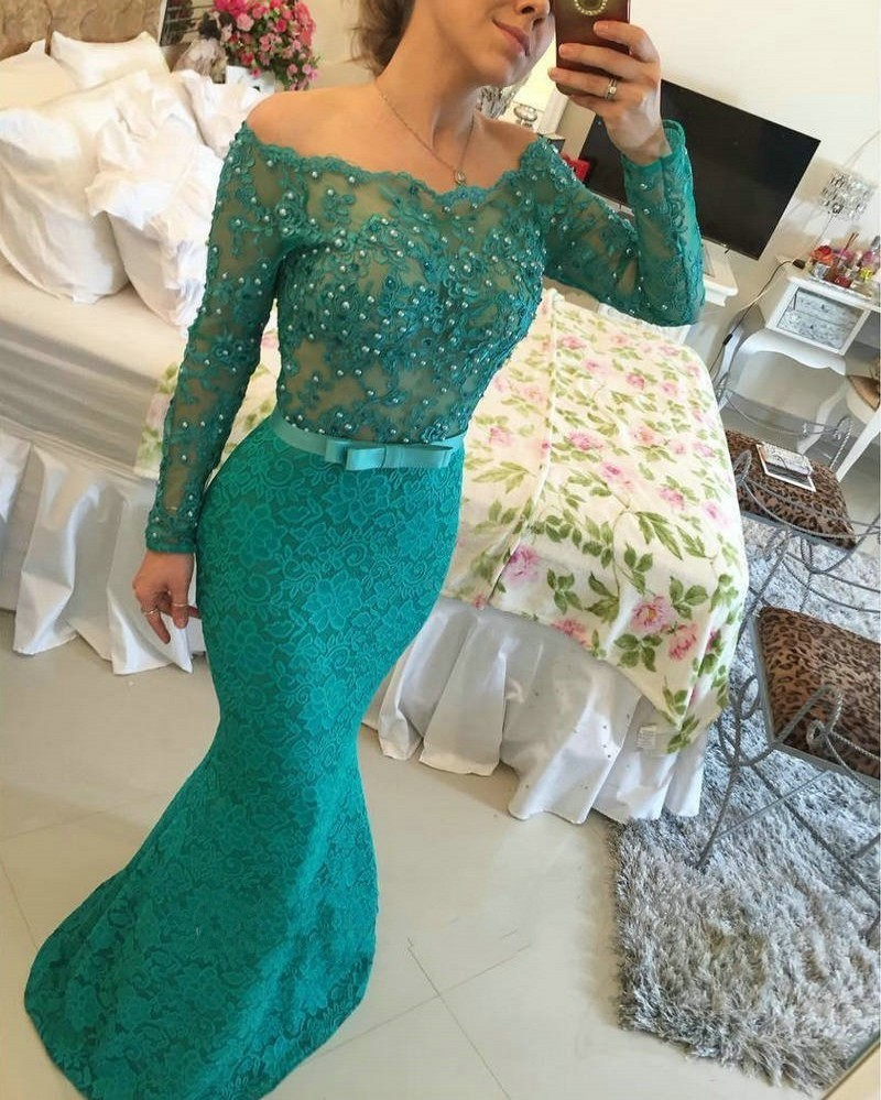 Fashion Long Sleeve Mermaid 2018 Sexy See Through Crystal Appliques Lace Evening Party Prom Gown Mother Of The Bride Dresses