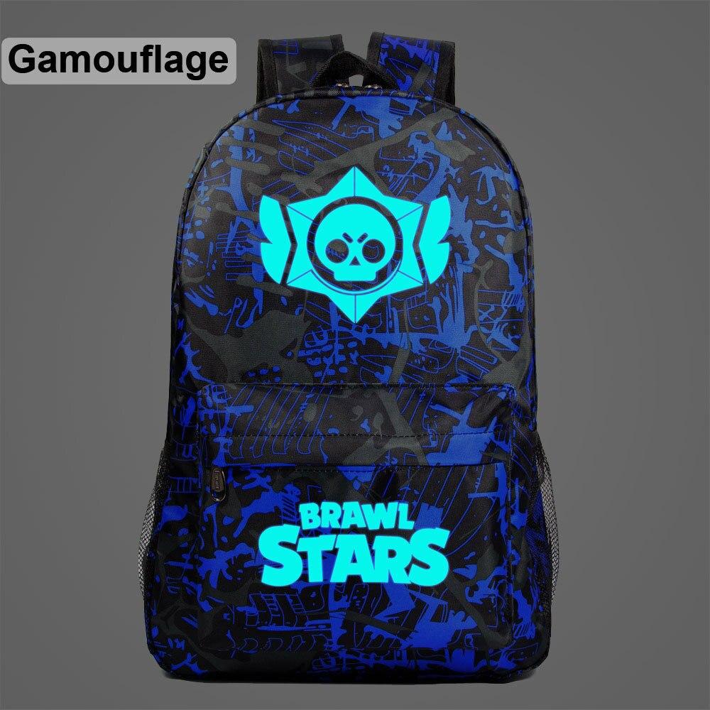 Brawl Stars Games Schoolbag Luminous Student School Backpack Waterproof Bagpack Primary School Book Bags For Teenage Girls Kids