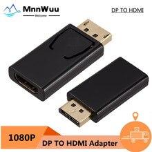 DisplayPort a HDMI compatible con Adaptador convertidor de Puerto macho DP a hembra Cable de TV HD Video del adaptador de Audio para PC TV