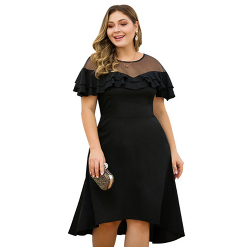 Elegant Black Short Evening Dress Plus Size Sexy Illusion Top Short Sleeve Tea Length Formal Dress for Wedding Party
