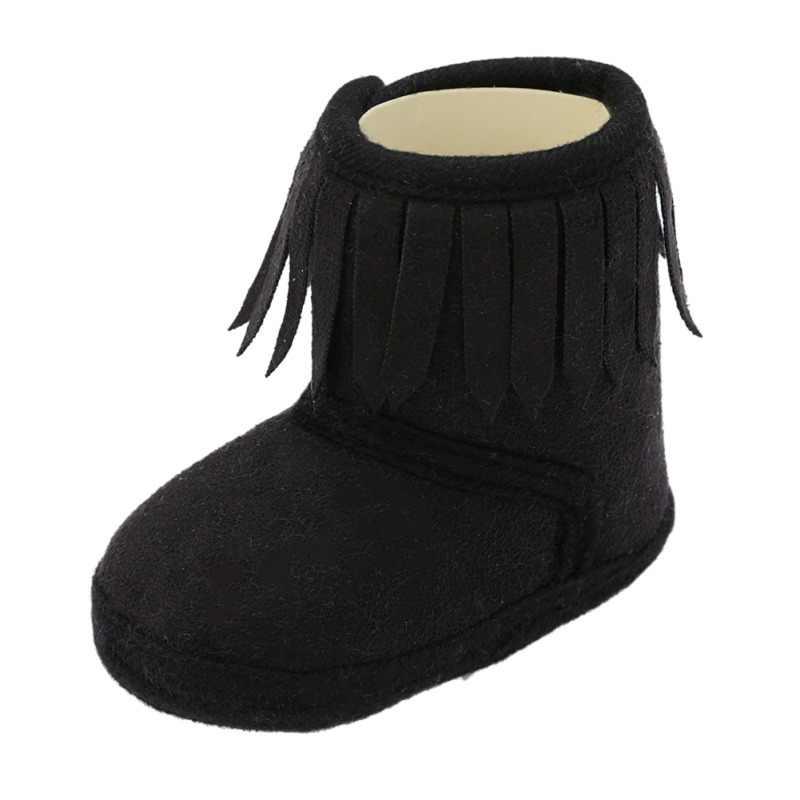2019 Otoño Invierno botas de bebé recién nacido dulce Linda cómoda franja Color sólido borla suave Fondo algodón botas calientes 0-18M
