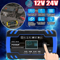 Original Automatic Intelligent Car Battery Charger Touch Screen 12/24V LCD Pulse Repair AGM Charger Motorcycle Battery Charger