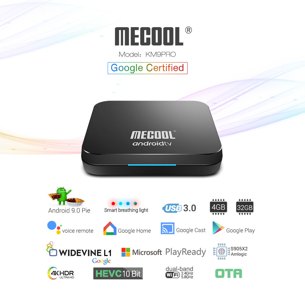 Google Certified <font><b>Android</b></font> 9.0 Smart <font><b>TV</b></font> <font><b>Box</b></font> <font><b>KM9</b></font> PRO Voice Remote Amlogic <font><b>S905X2</b></font> LPDDR4 4GB 32GB BT4.0 3D 4K HDR 2.4G/5G Dual WIFI image
