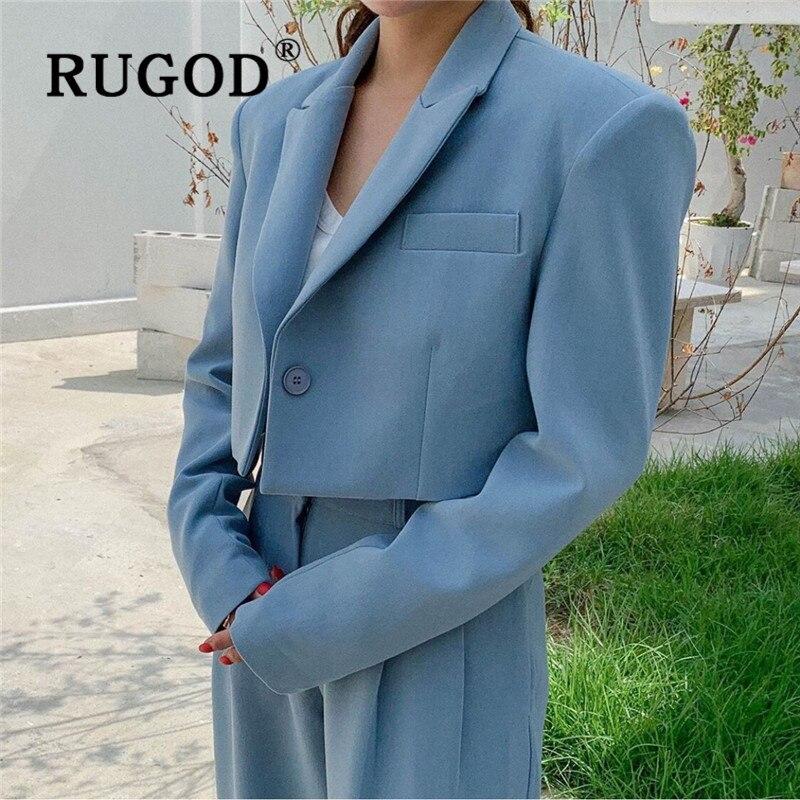 RUGOD 2019 New Autumn Blazer Set Notched Single Button Short Jacket Button Fly Slim Pants Fashion Femme Elegant Office Ladies