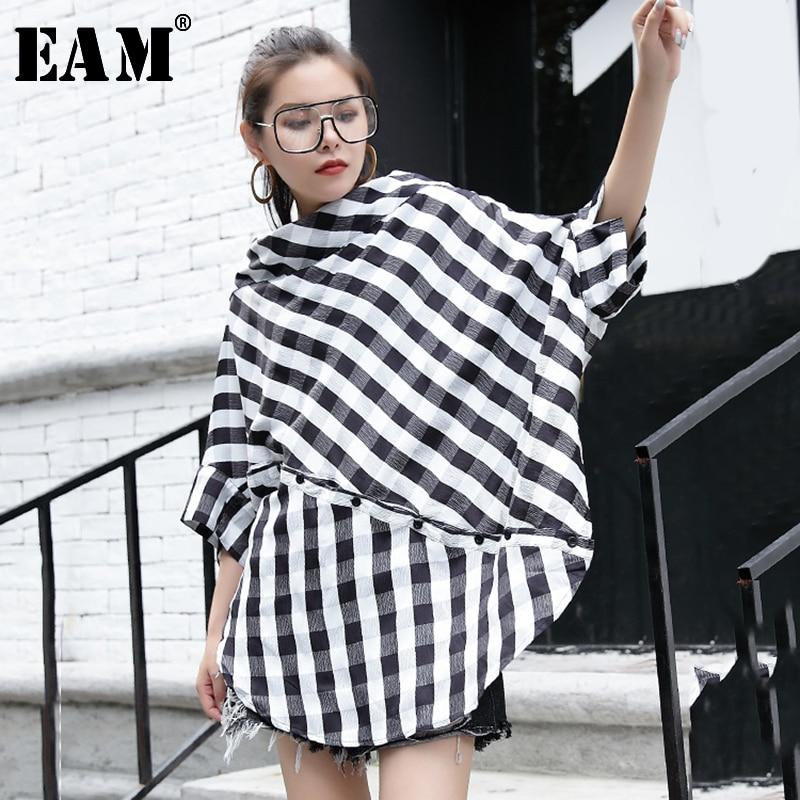 [EAM] Women Black Plaid Big Size Blouse New Slash Neck Three-quarter Sleeve Loose Fit Shirt Fashion Spring Autumn 2020 JG280