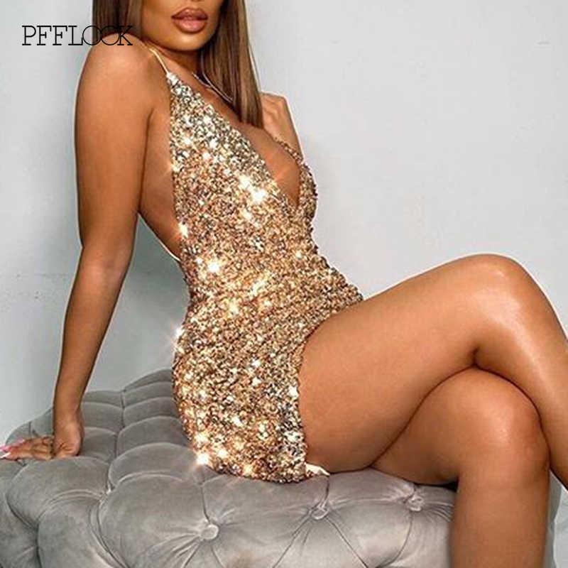 PFFLOOK Sommer Pailletten Glitter Sparkle Sexy Kleid Frauen V Neck Backless Bodycon Club Party Kleid Spagjetti Strap Elegante Vestidos