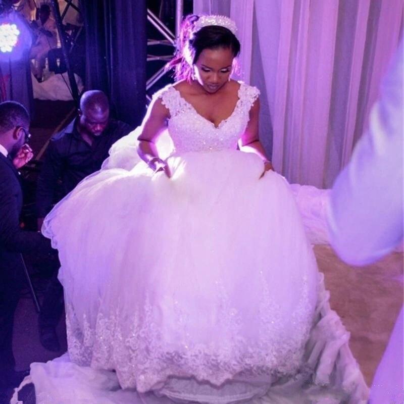 Sexy 3D-Floral Ball Gown Wedding Dresses Short Sleeves Plus Size Arabic African Vestido De Novia Princess Bridal Gown