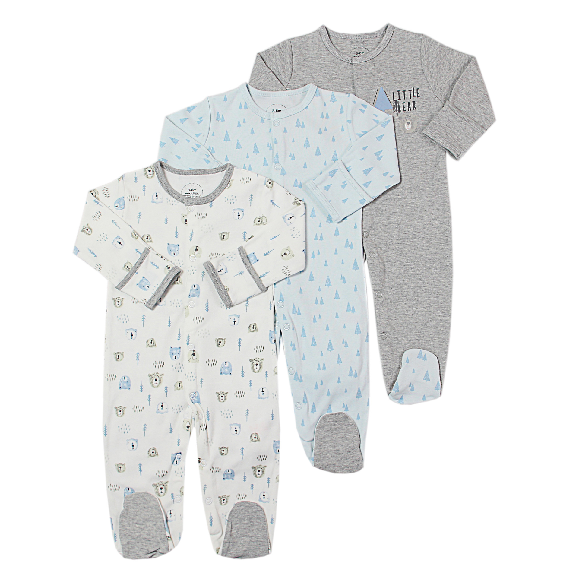 3Pcs/lot Baby Boys Rompers  Infant Newborn Long Sleeve Sleepsuit Girls Romper Cartoon Jumpsuit  Baby Pajamas 0-12Months