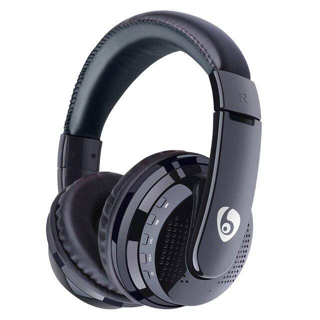 Sur loreille basse stéréo Bluetooth casque sans fil casque Support Micro SD carte Radio Microphone