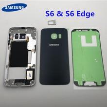 Do Samsung Galaxy S6 krawędzi G925 G925F bliski rama pełna obudowa baterii szklane etui + środkowa rama S6 G920 G920F