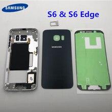 Per Samsung Galaxy S6 Bordo G925 G925F Medio Full Frame Telaio Alloggiamento della copertura di Batteria di Vetro + Telaio Centrale S6 G920 g920F