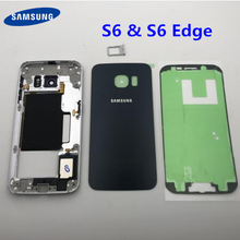 Samsung Galaxy S6 kenar G925 G925F orta çerçeve tam konut şasi pil kapağı cam + orta çerçeve S6 G920 g920F