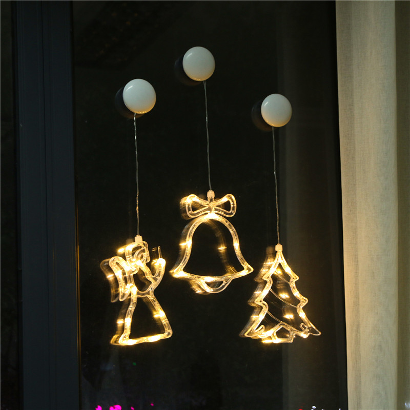 RTGBRT Window Lamps With Sucker Christmas Bells String Lights Xmas Lantern Holiday Decoration Fairy Light Garland Party Light